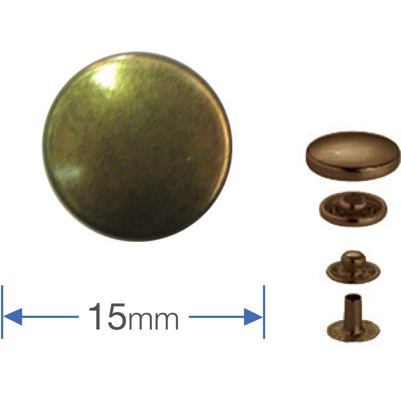 Press Studs (Non-Sew) - Antique Brass 15mm: PACK OF 100