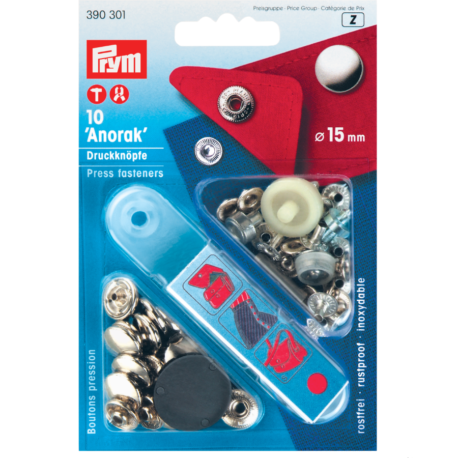 Prym press fasteners 15mm silver in pack of 10