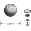 Press Studs (Non-Sew) - Silver 15mm: Pack of 10