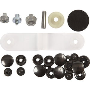 Pack has all items for making 10 complete press fasteners