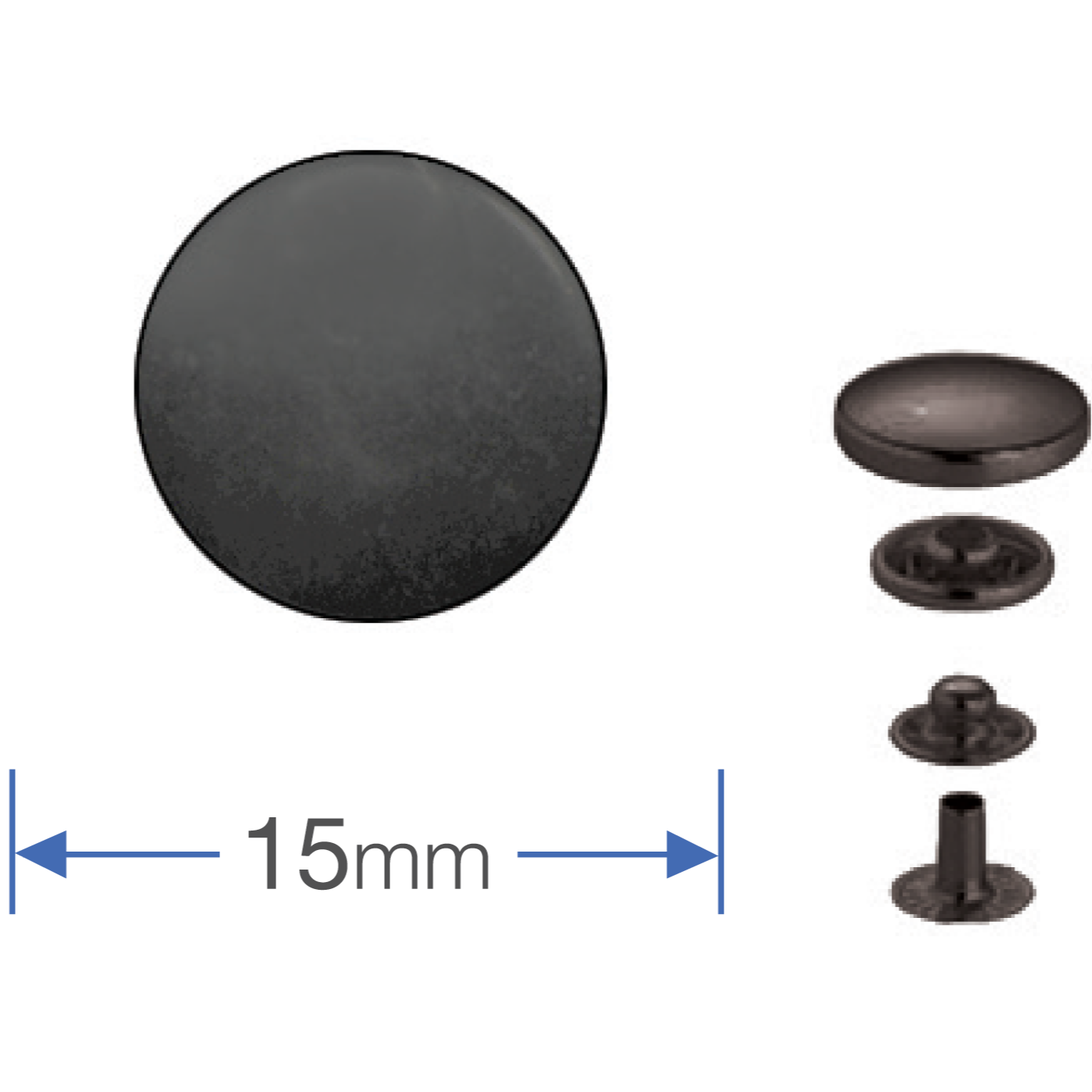 Press Studs (Non-Sew) - Gun Black 15mm: PACK OF 10