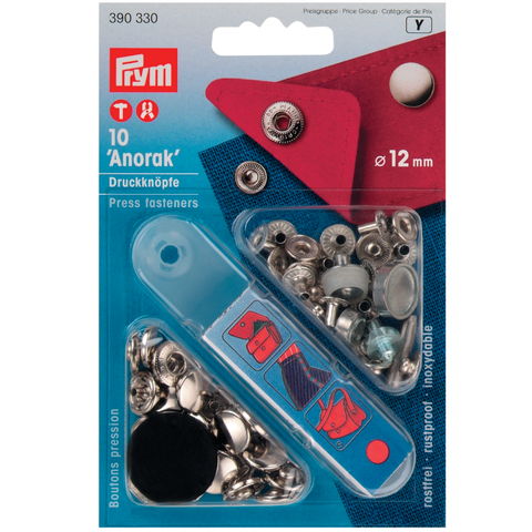 Prym no-sew Press Studs - Silver 12mm: Pack of 10