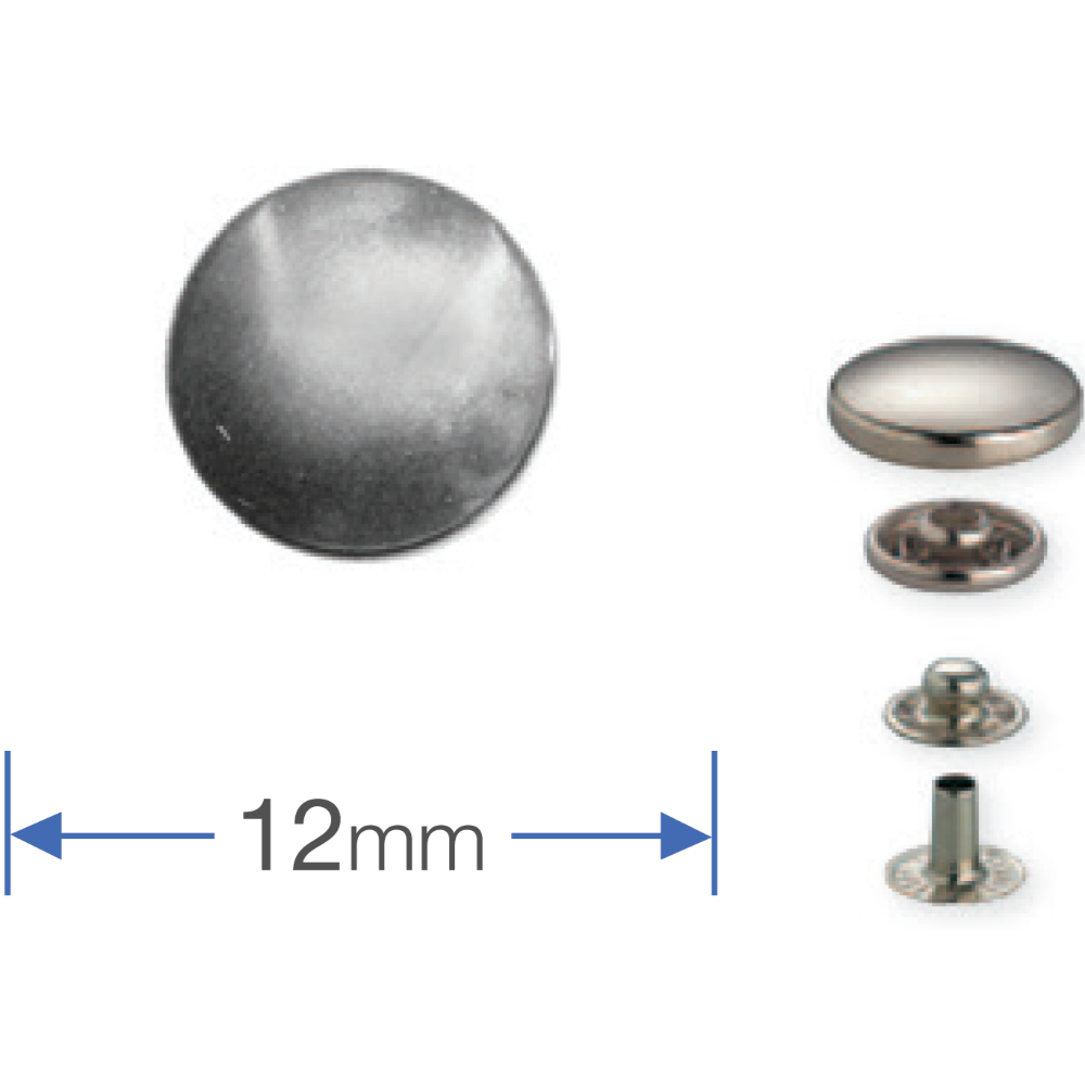 Prym no-sew Press Studs - Silver 12mm from Jaycotts Sewing Supplies