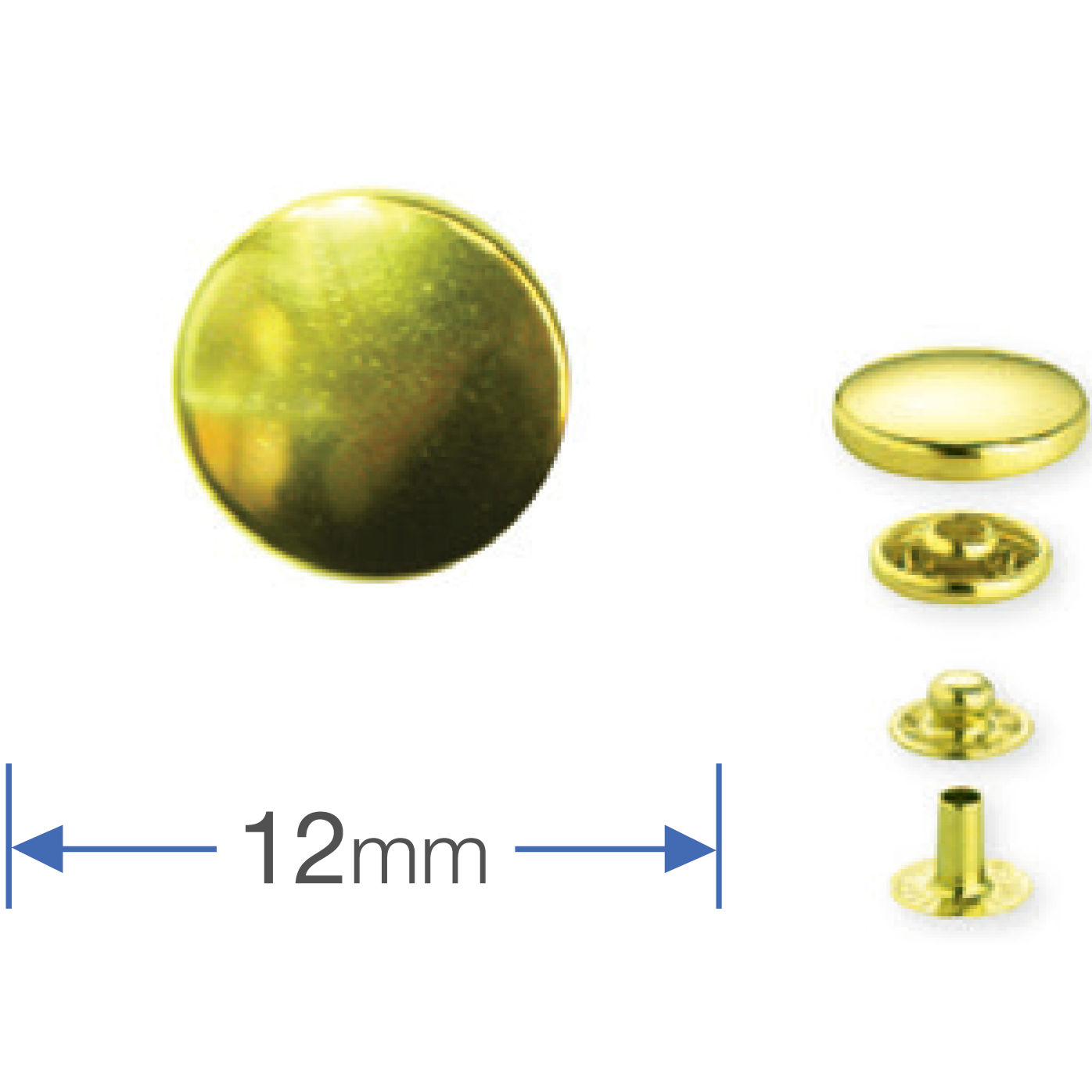 Press Studs (Non-Sew) - Gold 12mm: Pack of 10