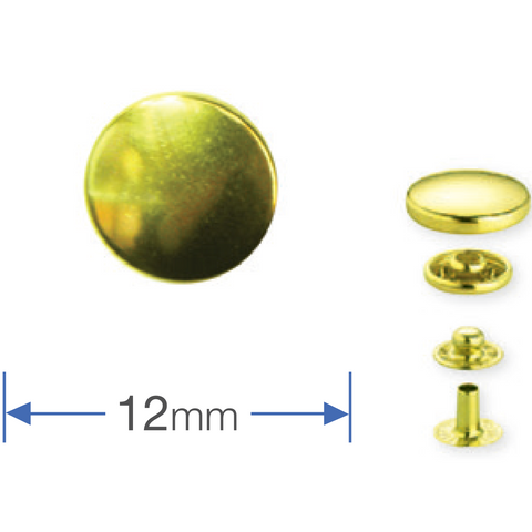 Gold Press Studs -12mm: Pack of 10