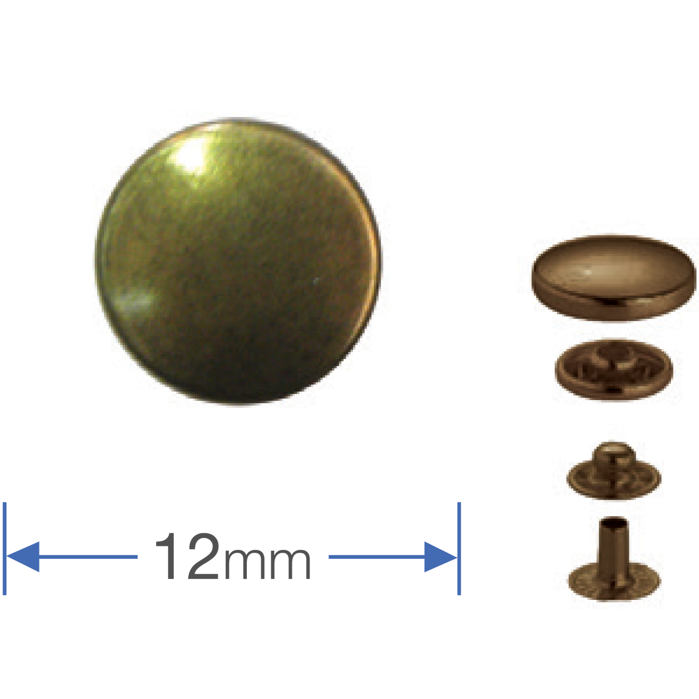 Press Studs (Non-Sew) - Antique Brass 12mm: Pack of 10