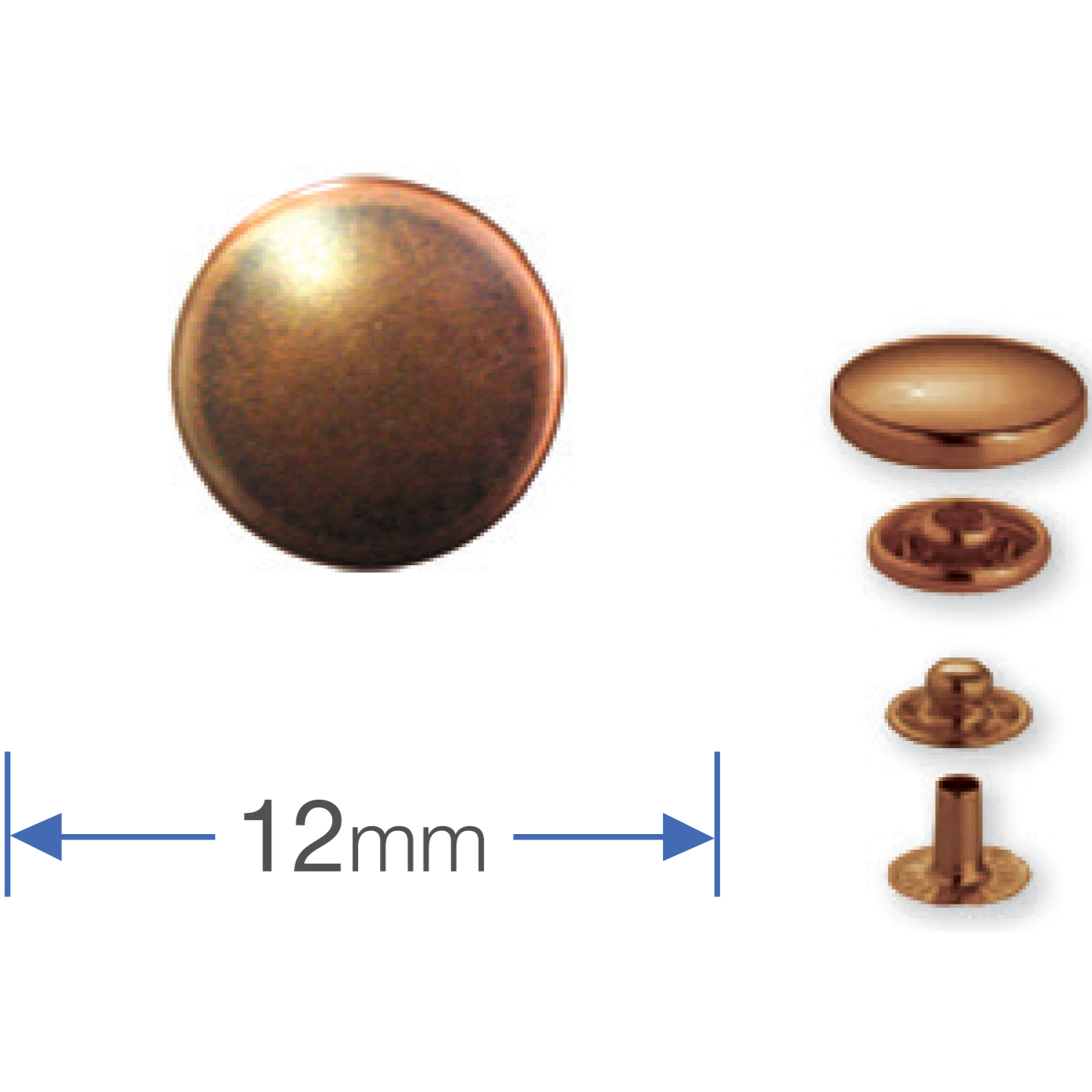 Press Studs (Non-Sew) - Antique Copper 12mm: PACK OF 10