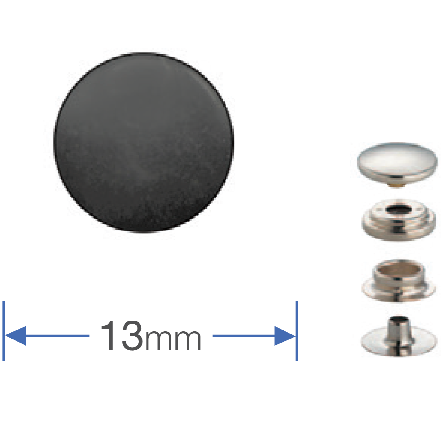 Press Studs (Non-Sew) - Gun Black 13mm Heavyweight: PACK OF 10