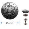 Press Studs (Non-Sew) - Silver, 'New fusion' 20mm: PACK OF 6
