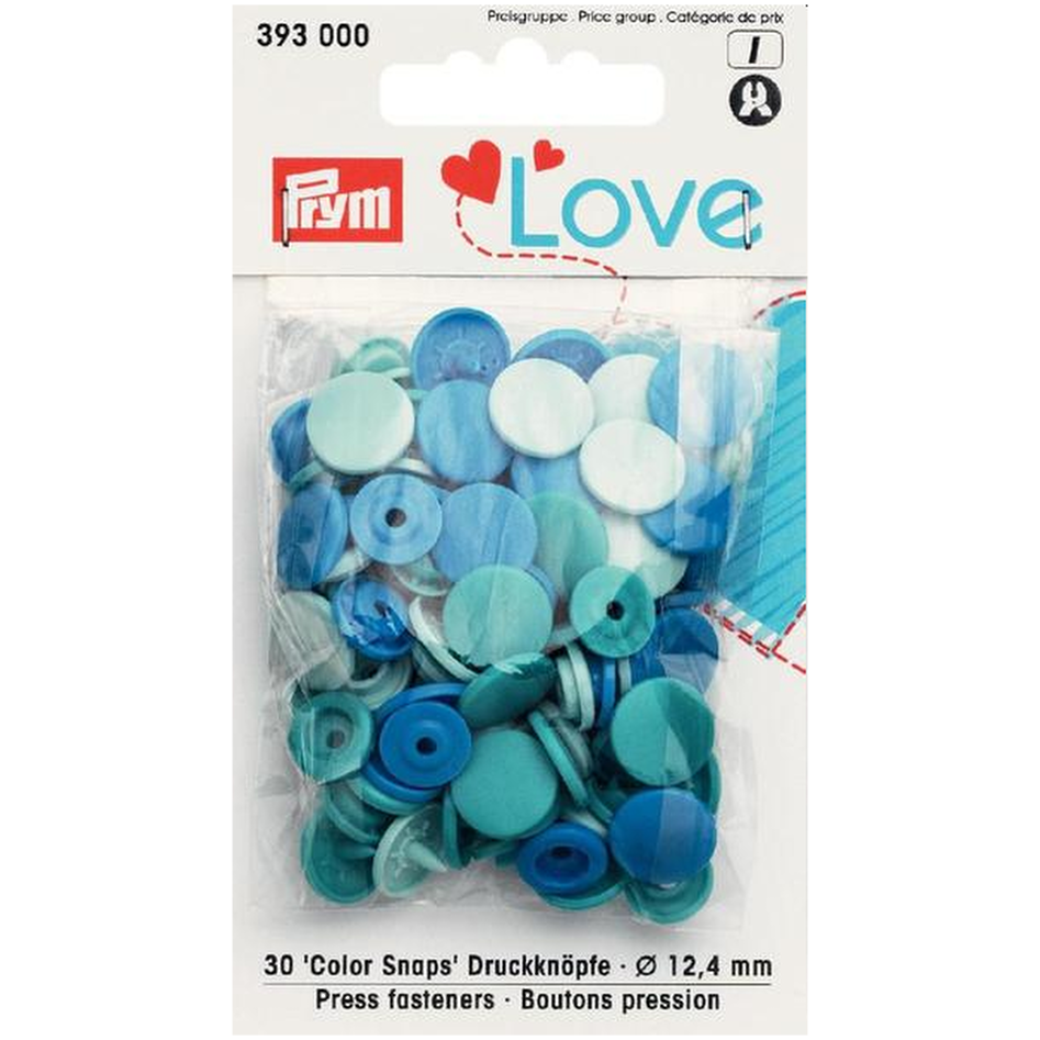 Prym Colour Snaps - Blue Packs of 30