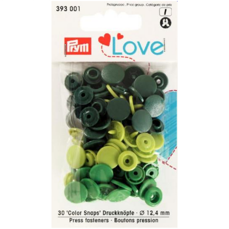 Prym Colour Snaps - Green Packs of 30
