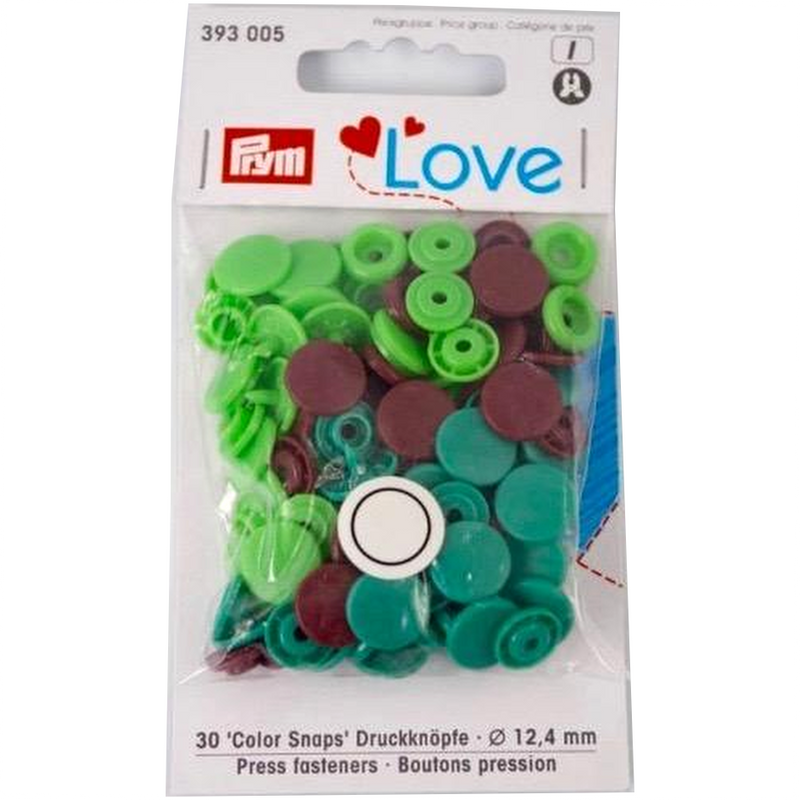 Prym Colour Snaps -  green / lime / brown