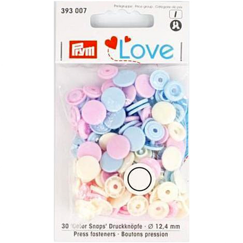 Prym Colour Snaps - pale pink / light blue/ pearl