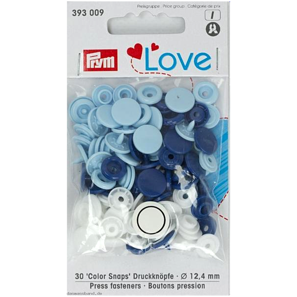 Prym Colour Snaps - blue / white / light blue from Jaycotts Sewing Supplies