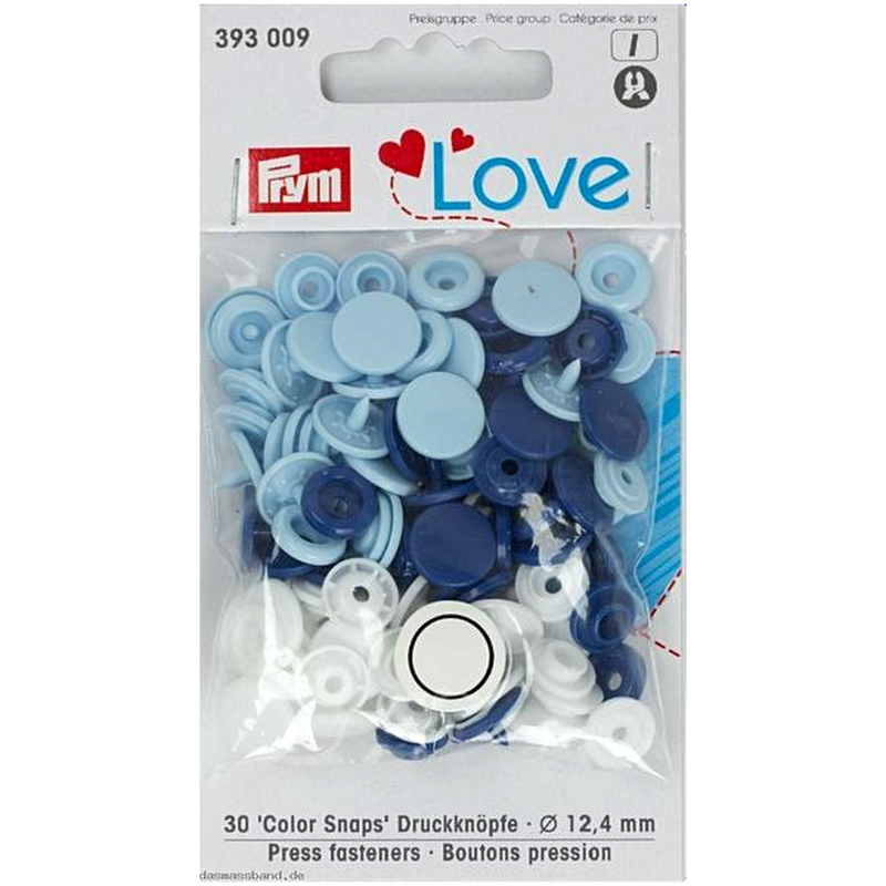 Prym Colour Snaps - blue / white / light blue