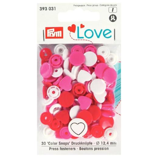 Prym Colour Snaps - Hearts Packs of 30