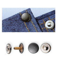 Jeans Rivets (Non-Sew) Silver 9mm: Pack of 24