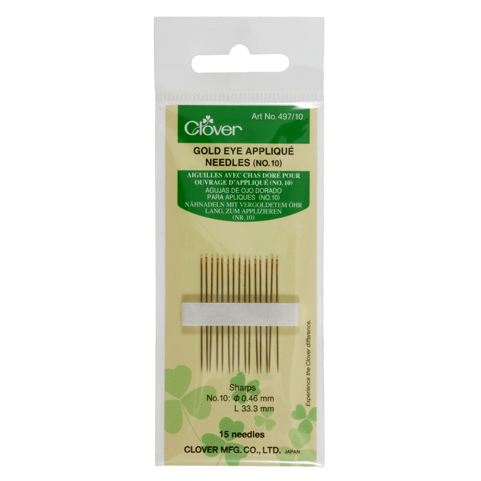 Clover 497 Gold Eye Appliqué‎ Needles from Jaycotts Sewing Supplies