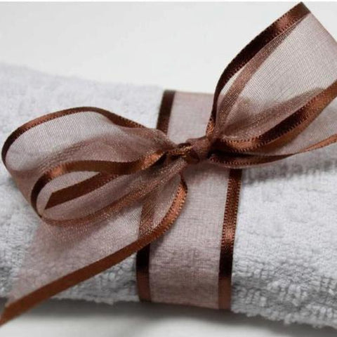 Satin Edge Organza Ribbon | Coffee