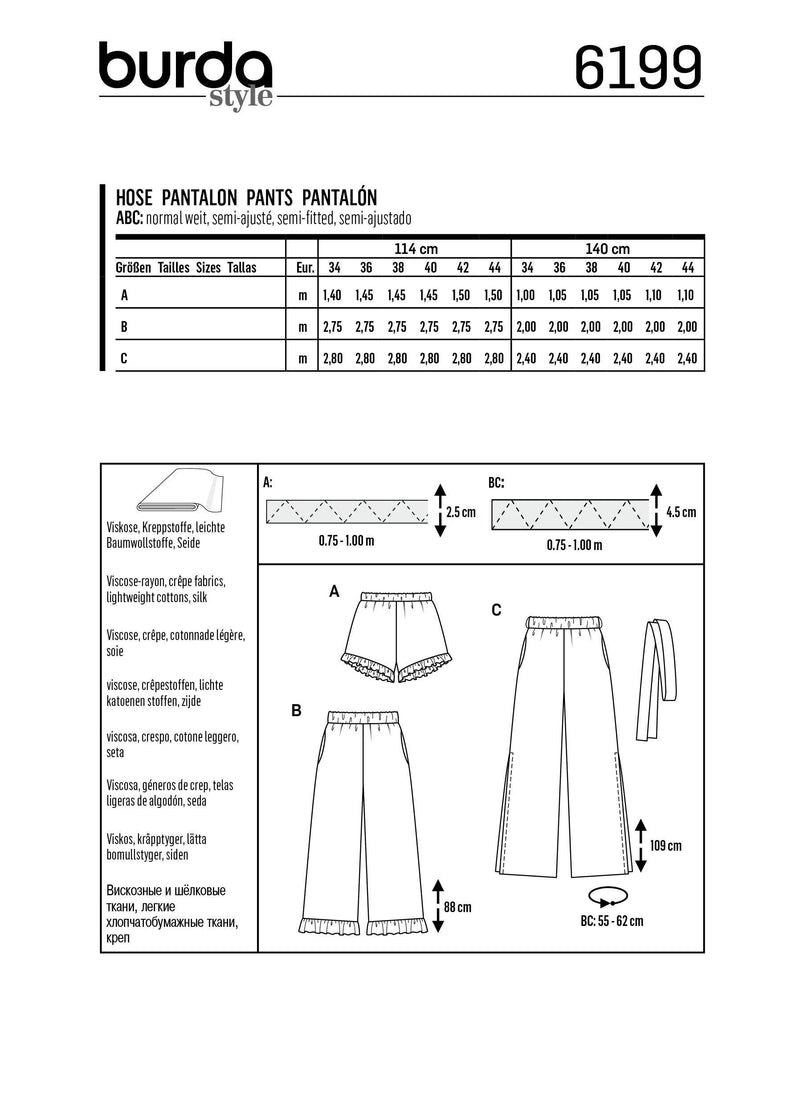 Burda Pattern 6199  Trousers / Pants / Shorts