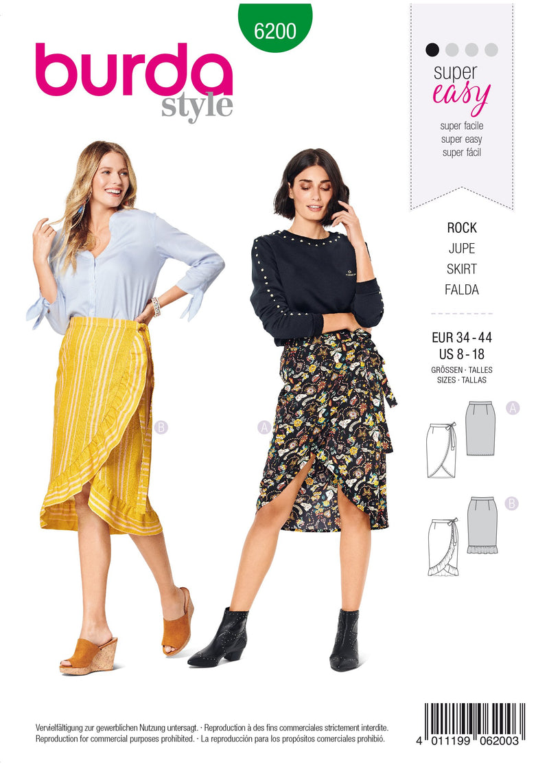 Burda Pattern 6200  Wrap Skirt with Waistband and Tie from Jaycotts Sewing Supplies