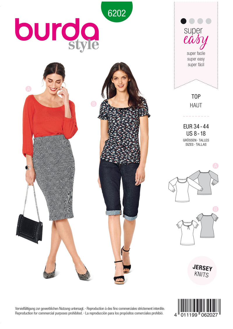 Burda Pattern 6202  Top with Raglan Sleeves –  Ballet Scoop Neck from Jaycotts Sewing Supplies