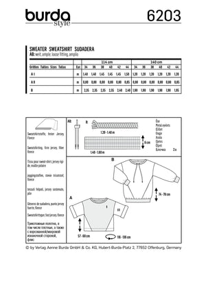 Burda Pattern 6203  Sweatshirt – T-Line – with Interesting Seam Lines from Jaycotts Sewing Supplies