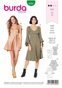 Burda Pattern 6205  Dress with Empire Waist – Bell-shaped Skirt