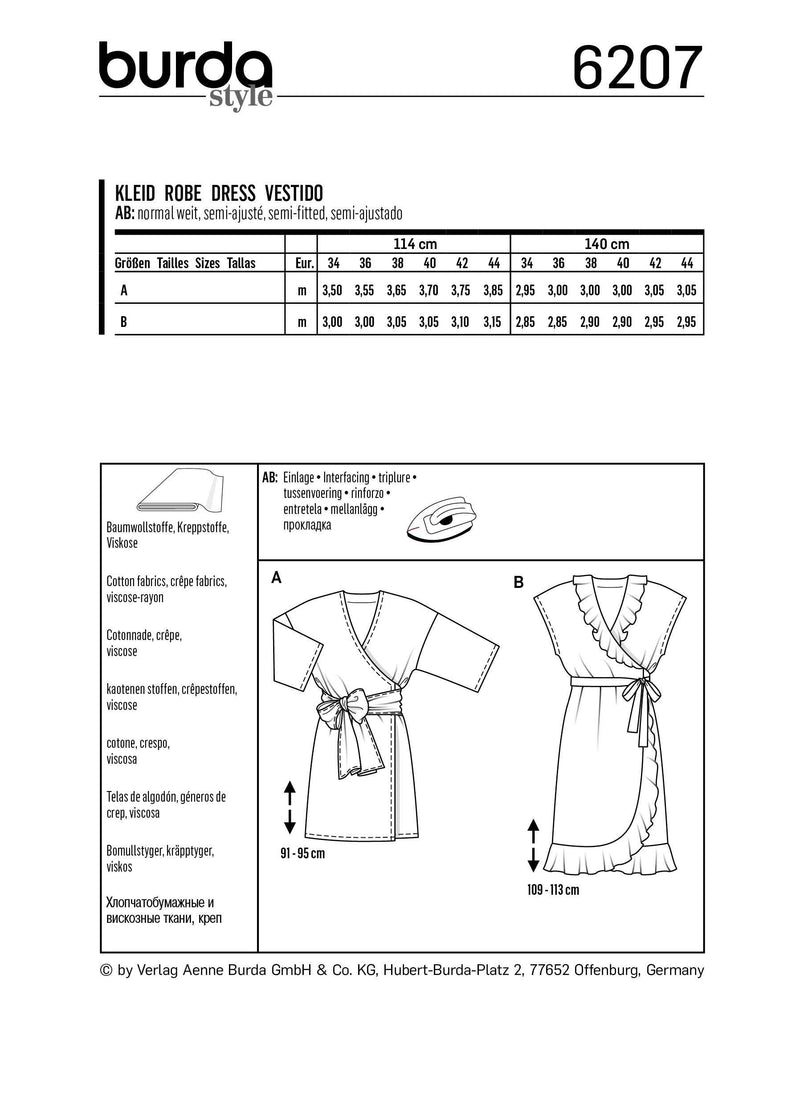 Burda Pattern 6207  Wrap Dress with Tie Bands –  Hem and Neckline Flounces from Jaycotts Sewing Supplies