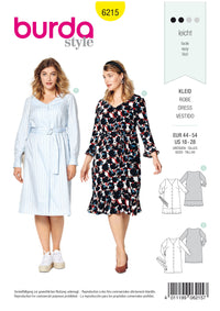 Burda Pattern 6215 Dress with Button Fastening – V-Neck – Hem Flounce from Jaycotts Sewing Supplies