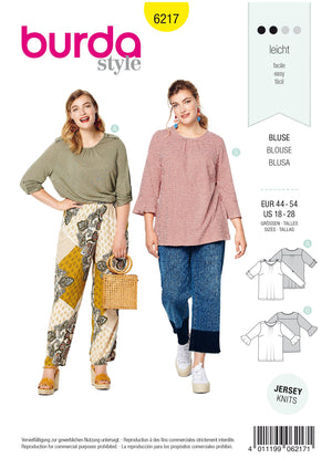Burda Pattern 6217 Women's Top – Roll-up Sleeves –  Sleeves with Flounces from Jaycotts Sewing Supplies