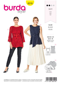 Burda Pattern 6219  Sleeveless Blouse – Two-layered Tunic Top from Jaycotts Sewing Supplies