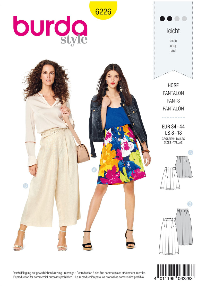 Burda Pattern 6226  Bermudas – Culottes – Pleats at Waistband from Jaycotts Sewing Supplies
