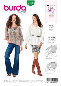Burda Pattern 6227  Blouse – Carmen Blouse –  Drawstring Neckline from Jaycotts Sewing Supplies