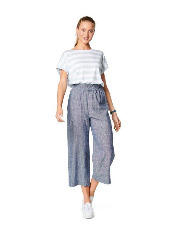Burda Pattern 6229  Trousers/Pants with Elastic Waist with Pockets in Seams – Wide Leg