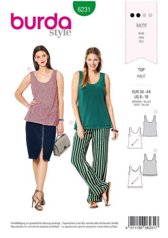 Burda Pattern 6231  Top with Rounded Neckline –  Singe or Double Layer from Jaycotts Sewing Supplies