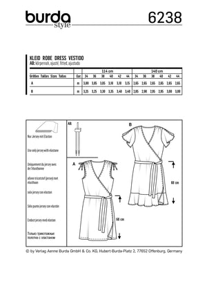 Burda Pattern 6238  Dress – Wrap Dress –  Gathered Shoulders from Jaycotts Sewing Supplies