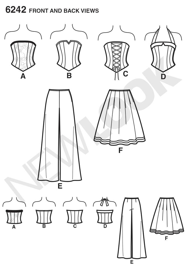 New Look Sewing Pattern 6242 | Misses corset top