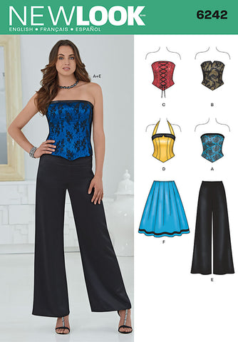 NL6242 Misses' Corset Top, Pants & Skirt