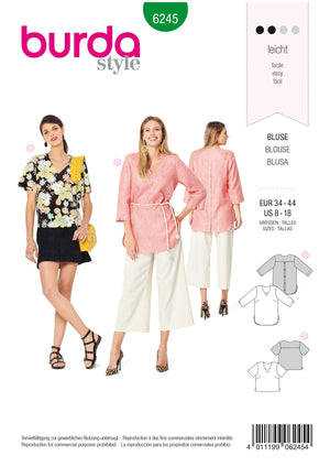 Burda Pattern 6245  Blouse – Tunic Top – V-Neck –  Back Button Fastening from Jaycotts Sewing Supplies