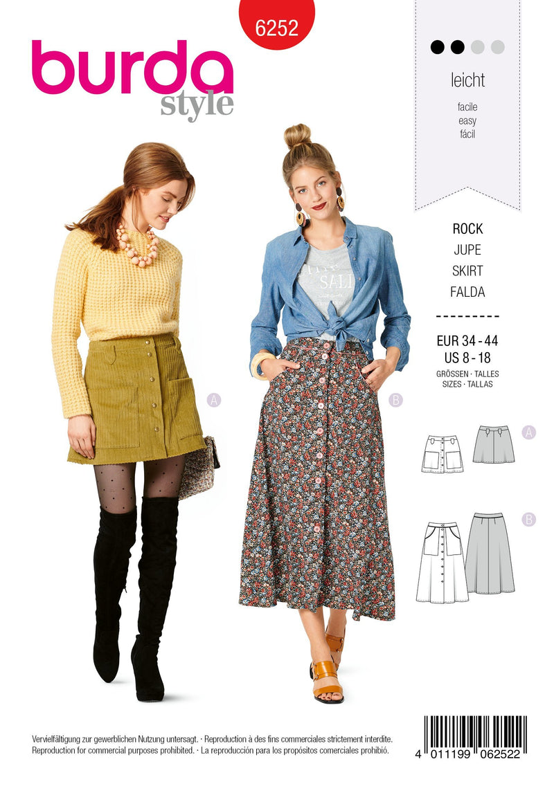 6252 Burda Sewing Pattern |   SKIRTS from Jaycotts Sewing Supplies