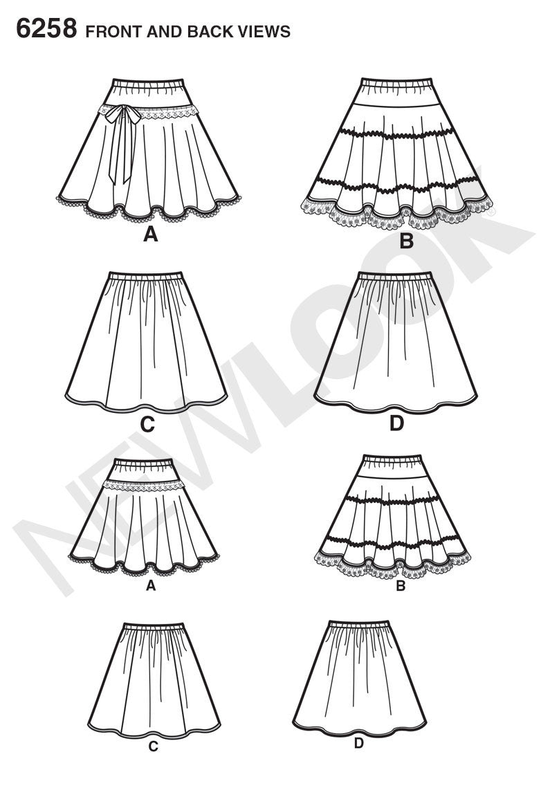 New Look Sewing Pattern 6258 | Child's and girls' circle skirts