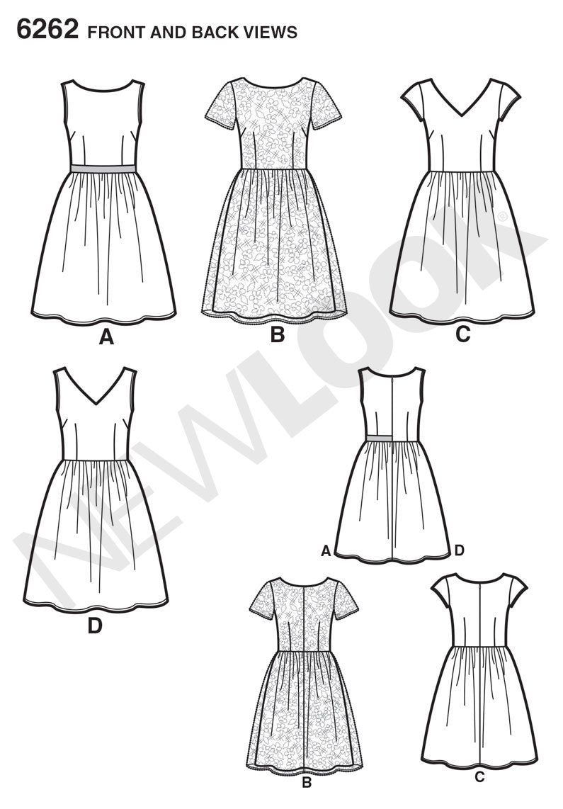 New Look Sewing Pattern 6262 |  Misses' Dress with Neckline Variations
