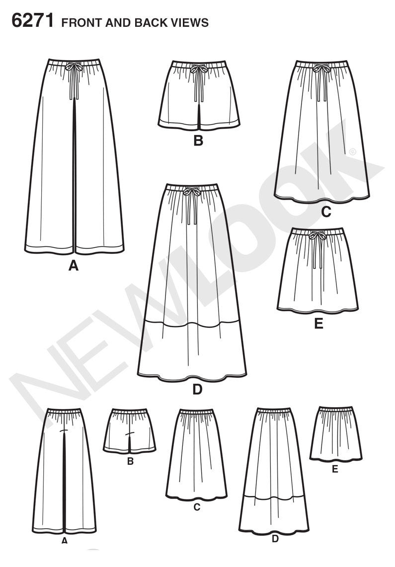 New Look Sewing Pattern 6271 |  Skirt in Three Lengths & Pants or Shorts