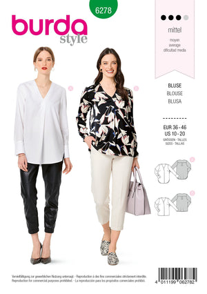6278 Burda Sewing Pattern |  PLUS SIZE Blouses from Jaycotts Sewing Supplies