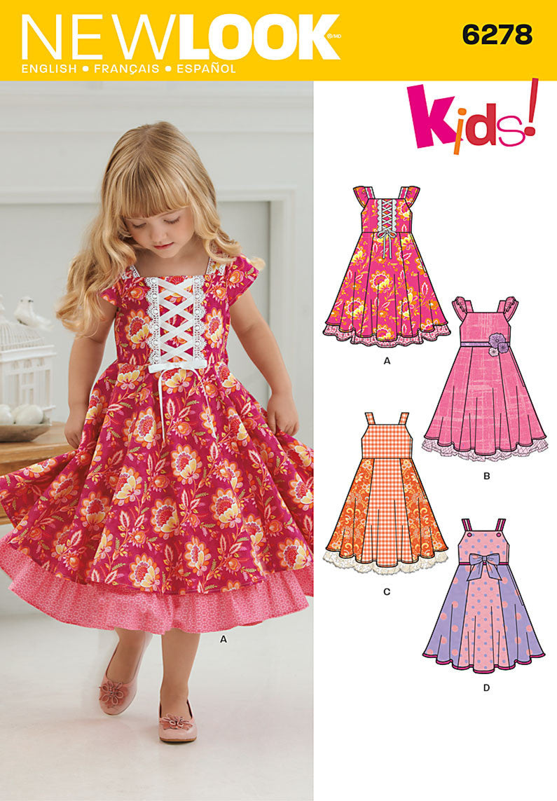 New Look Sewing Pattern 6278 |Child's full skirted dress