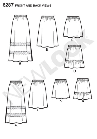 New Look Sewing Pattern 6287 | Pull on Skirt in 4 Lengths