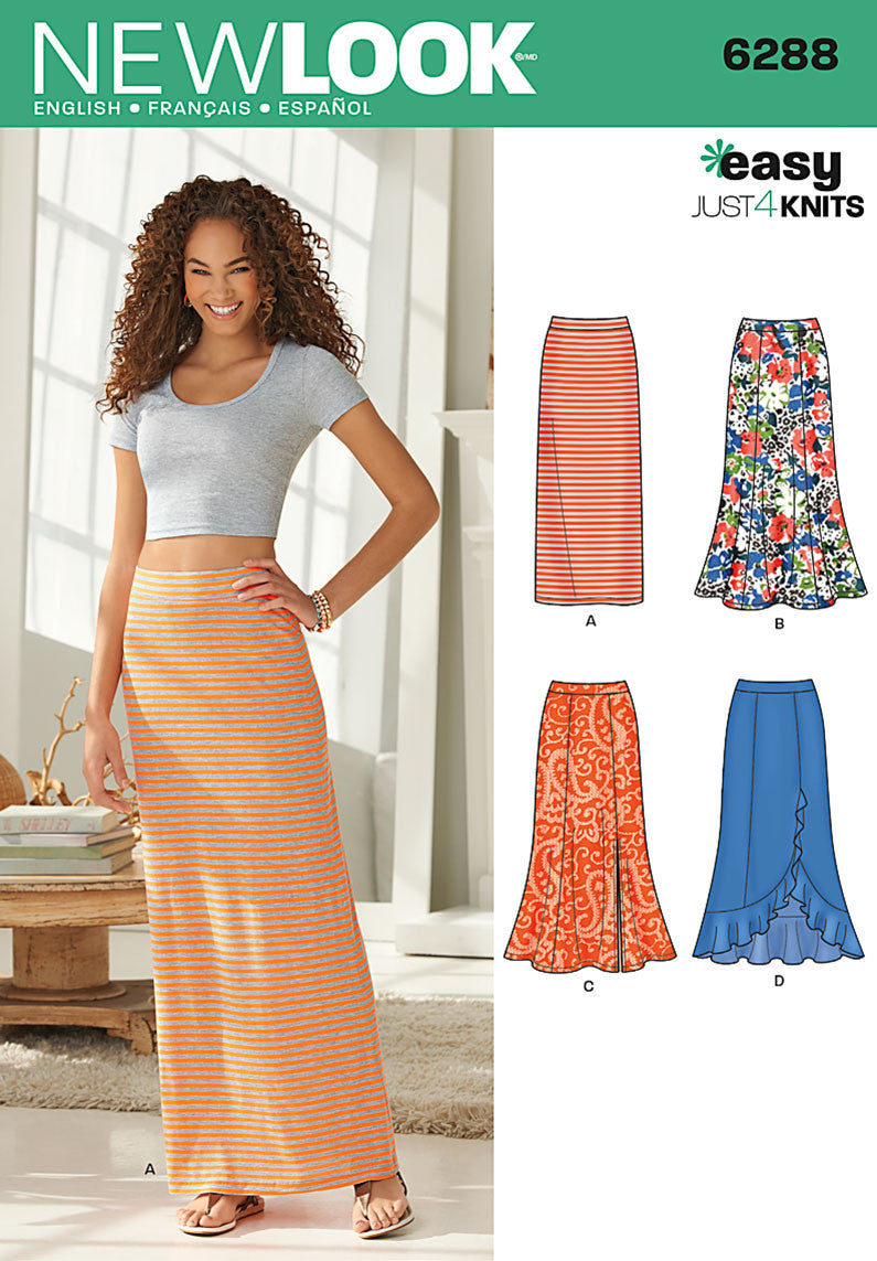 New Look Sewing Pattern 6288 | Pull on knit Skirt easy