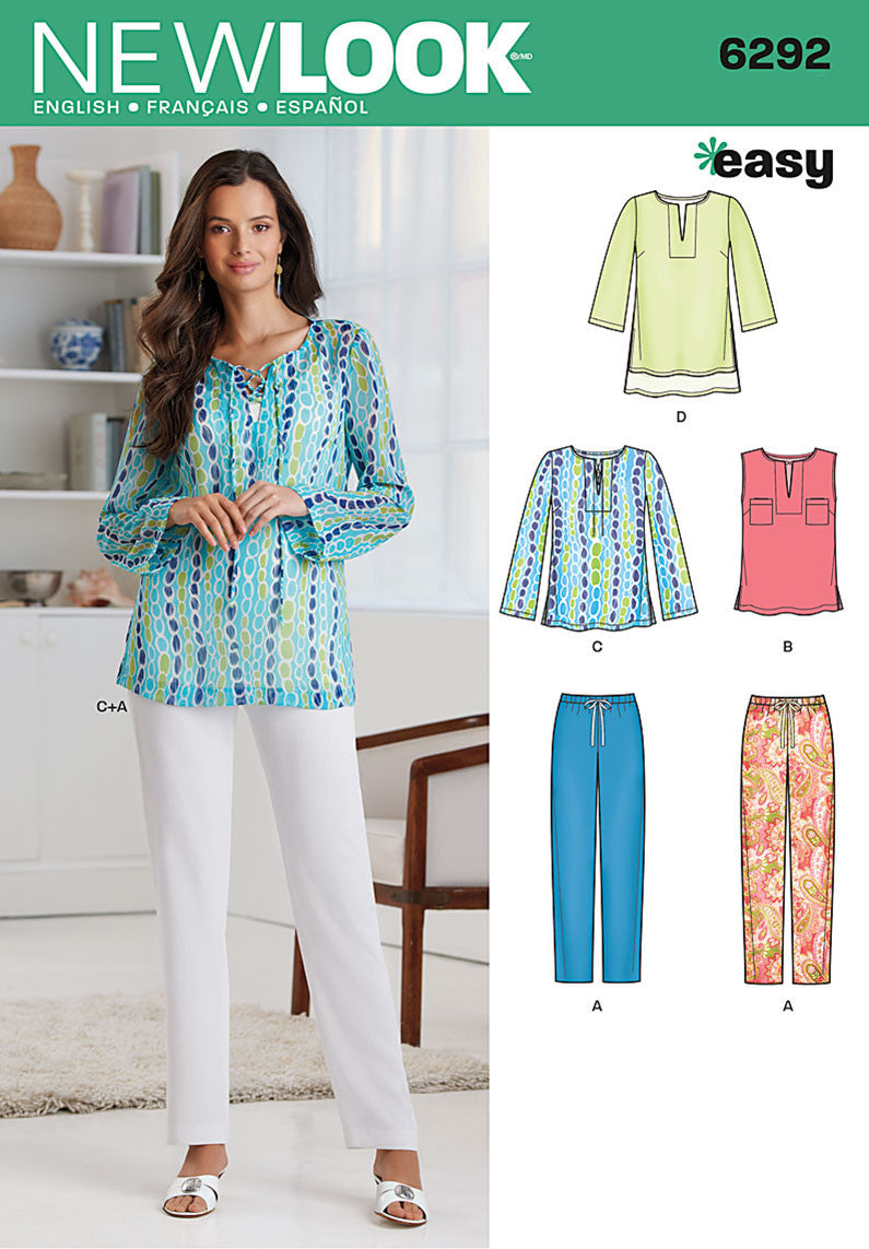 New Look Sewing Pattern 6292 | Tunic or Top & Pull-on Pants