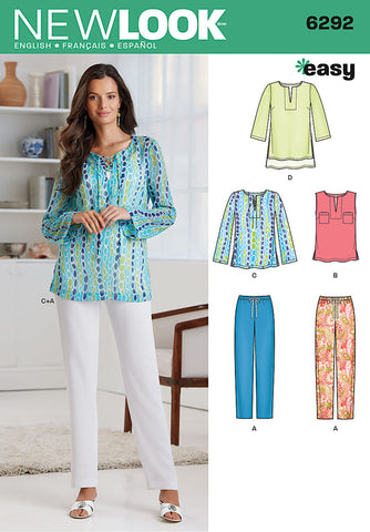 NL6292 Misses' Tunic or Top & Pull-on Pants